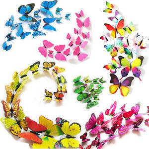 12-Set-3D-Schmetterlinge-Wandtattoo-Wanddeko-Wandtatoo-Wandaufkleber-LD7