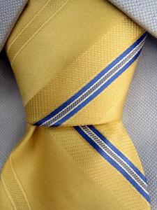 Men-039-s-Michael-Kors-Yellow-Blue-Striped-Silk-Tie-A25578