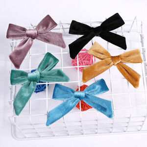 """3.7/"""" Kids Velvet Knotted Bow Hair Clip Solid Color Baby Hairpin Girls Barrettes"""