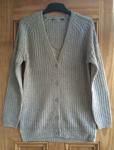 Dorothy Perkins New Stone Beige Long Line Knitted Cardigan Size 10 12 Bnwot