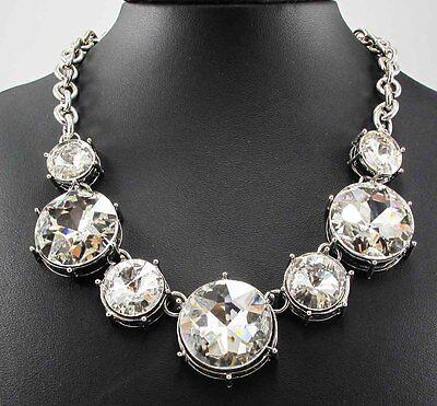 Fashion Style Chain Crystal Flower Bib Big Statement charm chunky Necklace Q405