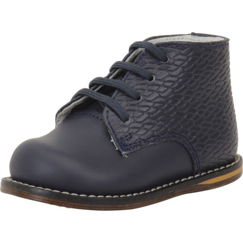 Josmo Infant//Toddler Boy/'s First Walker Navy Print Woven Lace Up Oxfords Shoes