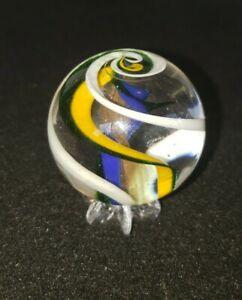 "Handmade Scott Meyer MARBLE 1 3/4"" + Lutz Ribbon Core glass Swirl Mint ECFF"