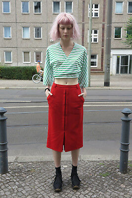 Donna Gonna Lunga Rosso 90er True Vintage 90s Culto Fashion Women's Kirt Long Red-mostra Il Titolo Originale Rendere Le Cose Convenienti Per I Clienti