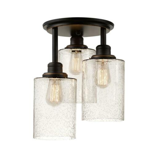 Annecy 3Light Oil Rubbed Bronze Glass Shade Flush Mounting Hardware showcase