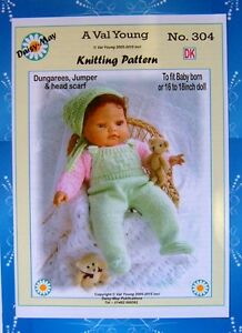DOLLS KNITTING PATTERN for BABY BORN or 16/17ins doll No 304 - By Daisy-May ...