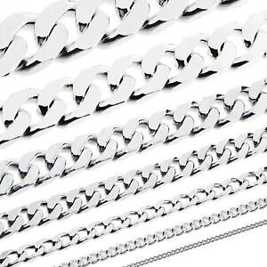 Echt 925 Sterling Silber Massiv Herren Kette Panzerkette Collier Halskette Damen Hindernis Entfernen