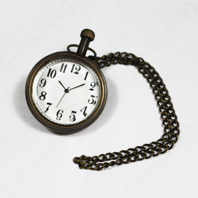 WW2 GERMAN POCKET WATCH - Repro Military Battery Operated With Chain Army New