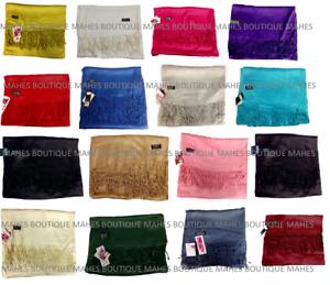 Pashmina-Shawl-Wrap-Scarf-Fashion-Women-039-s-Solid-Plain-Wedding-Gift