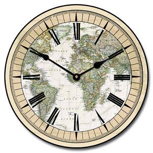 Image Is Loading Nautical World Map LARGE WALL CLOCK 10 034