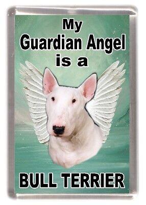 """Dog Fridge Magnet /""""Home is Where/""""  by Starprint White Bull Terrier"""