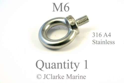 M6 Eye bolt DIN 580 short thread made from marine stainless steel 316 A4