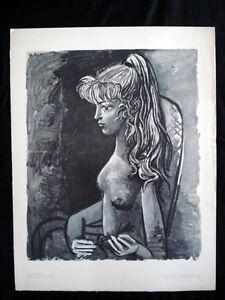 Picasso-Sylvette-au-Fauteuil-Original-Vintage-Photolithograph-inv1075