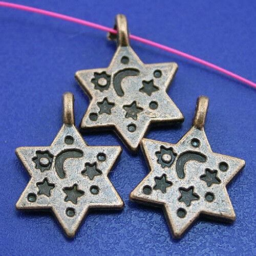 20pcs copper-tone star charms H2265