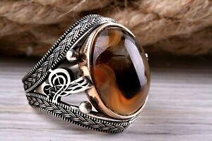 Piedra natural ágata yemeníes Aqeeq turca 925 Sterling Silver Anillo para hombre todos si̇ze