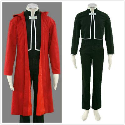 Fullmetal Alchemist Edward Elric/'s Cosplay Costume Suit Red Cloak Black Uniform