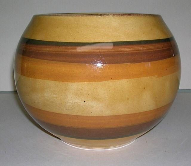 "Vintage California Pottery Bowl Vase Planter Shaded Brown Stripes C-50-1 USA 7"""