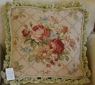 "16/"" French Country Style Handmade PetitPoint Needlepoint Pillow w//Tassel WM-36B"