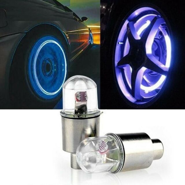 2pcs Neon Lights Color Tyre Wheel Valve Cap Light LED Lamp Flash Car Tire Valve