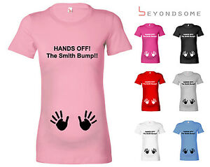 c1aef6826 HANDS OFF THE BUMP PERSONALISED FUN MATERNITY T-SHIRT PREGNANCY TOP ...