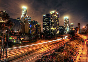 LOS-ANGELES-NIGHT-NEW-A2-CANVAS-GICLEE-ART-PRINT-POSTER