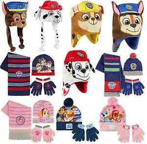 2123c86608e Boys Girls Kids Official Paw Patrol Winter Hats   Hat Gloves And ...
