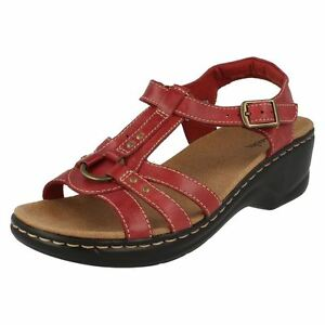 521991bb2fe240 Clarks  Odette Sumac  Ladies Cherry Red 100% Leather Upper Sandals D ...