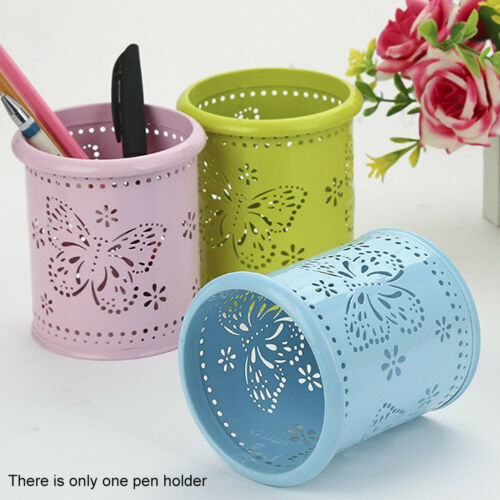 Cup Desk Organizer Butterfly Pattern Hollowed Out Fashion Container Pen Holder