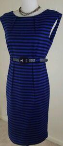 Premise-Women-039-s-Size-8-Blue-Black-Striped-Sleeveless-Dress-Office-Wear-NWOT
