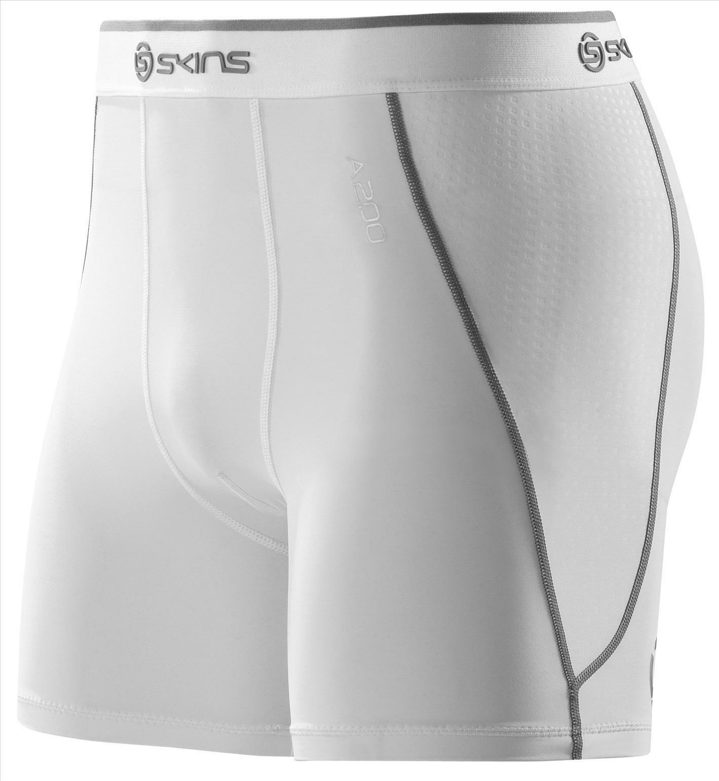 SKINS MENS A200 COMPRESSION SHORTS - WHITE