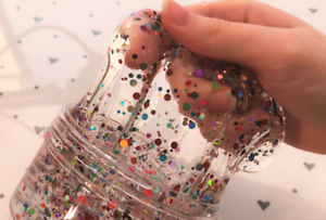 Scented-Clear-SLIME-034-CHRISTMAS-LIGHTS-034-Stretchy-Rainbow-Color-Glitter-2-4-6-8-oz