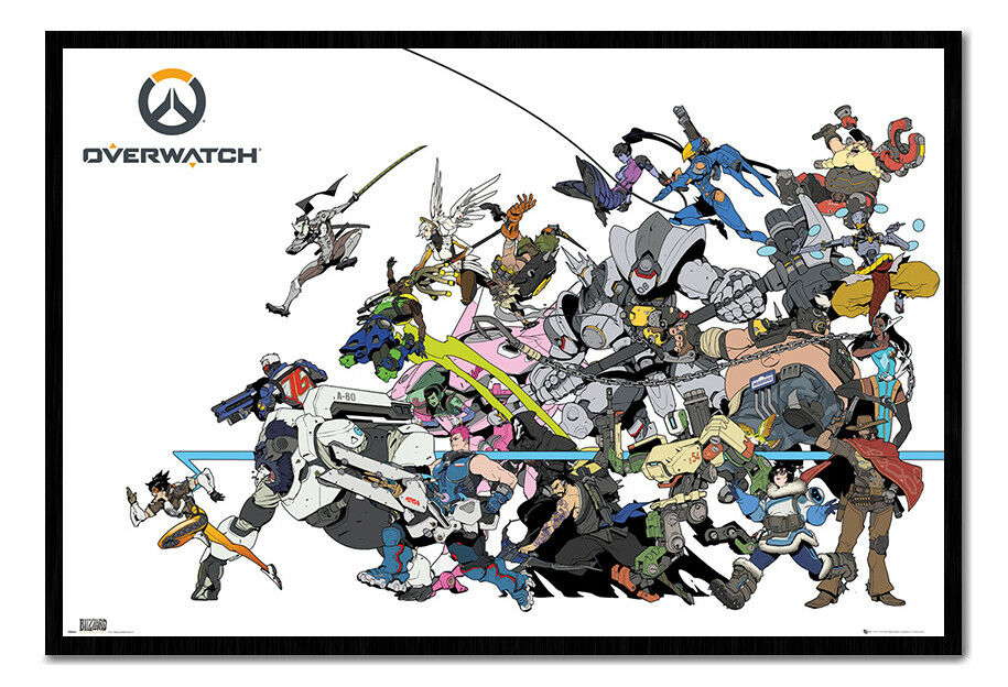 Overwatch Battle Poster Framed Cork Pin Notice Board With Pins