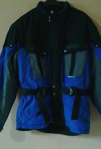 Herren-Motorradjacke-schwarz-blau-GR-XL-von-Polo-034-NEUWERTIG-034