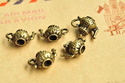 15pcs Antique Bronze Teapot Charm Pendant Steam Punk Handmade Necklace Punk