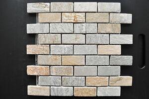 Das Bild Wird Geladen Quarzit Mosaik Naturstein Verblender Klinker Bricks  Beige Bad