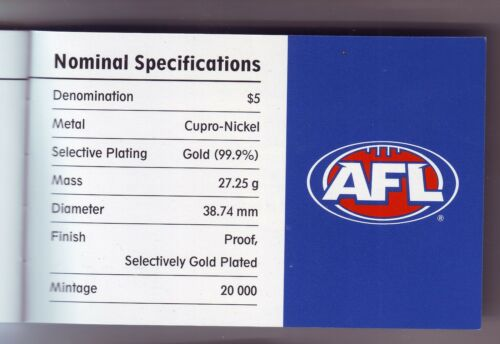 2004 AFL Football $5 Selectively Gold Plated Proof Coin