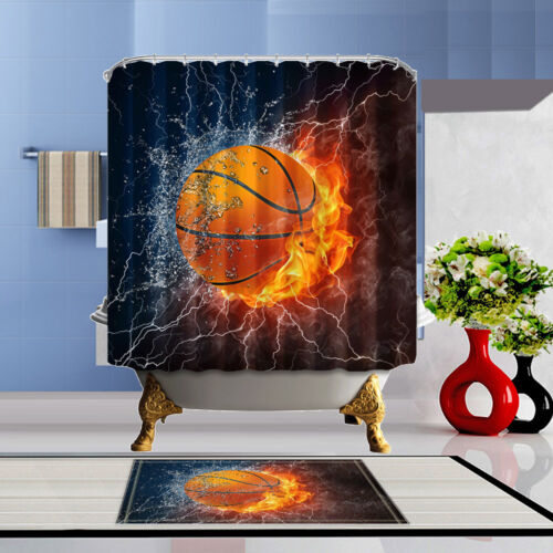 "71/"" Basketball Bathroom Shower Curtain Polyester Waterproof Doormat Home Decor"