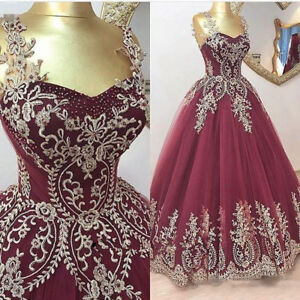 Gold Lace Applique Burgundy Quinceanera Dress Ball Gown Prom Party - Burgundy And Gold Wedding Dress