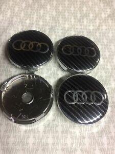 Carbon-Fiber-Audi-Alloy-Wheel-Centre-Caps-x4-60mm-4B0601170-A-1-2-3-4-5-6-7-RS