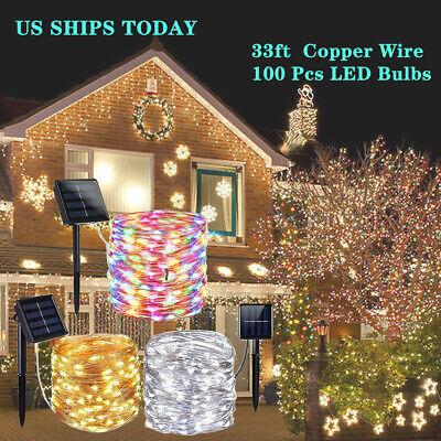 LED Solar String Light 60//100 LEDs 8 Color Christmas Xmas Wedding Tree Party