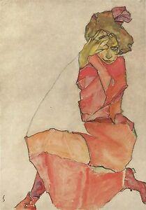 Schiele-Kneeling-Female-Ed-300-ud-Firma-impresa-Num-a-lapiz-Certif-Edicion
