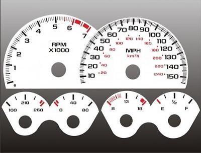 1999-2002 Chevrolet Camaro 150mph V8 Dash Cluster White Face Gauges 98-02