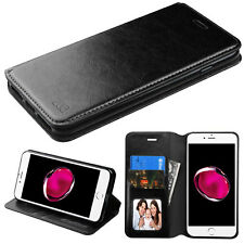 For Apple iPhone 7 Plus Phone Stand BLACK Leather Wallet Flip Case Cov