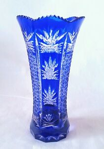 Vintage-Bohemian-blue-to-clear-cut-crystal-vase-7-inches