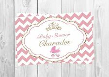 CHARADES, Baby Shower Party Game, Princess, Little Princess, Pink, Girl, Cute.