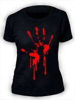 Bloody Hand Print T-Shirt Ladies Womens Zombie Horror Blood goth rock punk