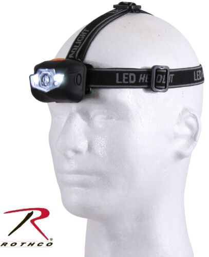 Rothco Adjustable 3-Stage LED Headlamp With Red Light Option /& Padded Back 236