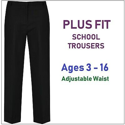 Girls black school trousers uniform age 4,5,6,8 years adjustable waist long leg