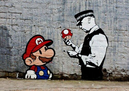 FREE 1ST CLASS POSTING!!! /'BANKSY MARIO AND POLICEMAN/' A4 POSTER PRINT