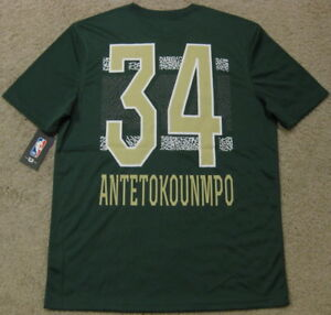 new concept af43f 2520a Details about Giannis Antetokounmpo Milwaukee Bucks Elephant Print Dri Fit  Jersey T Shirt Men